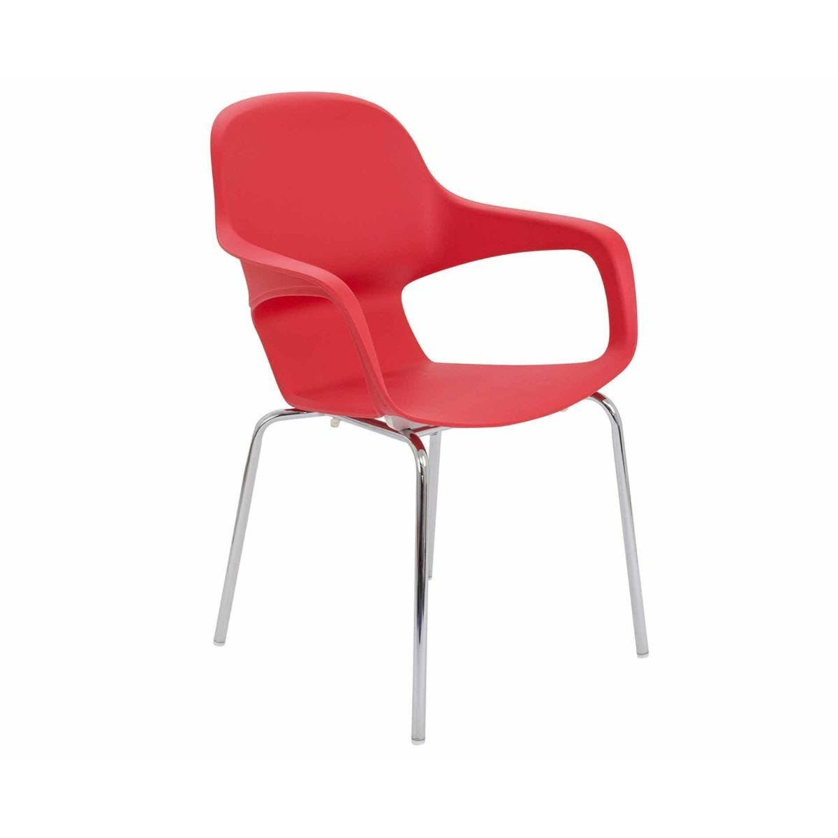 TC Office Ariel 2 Chrome Round Leg Stackable Chair Red