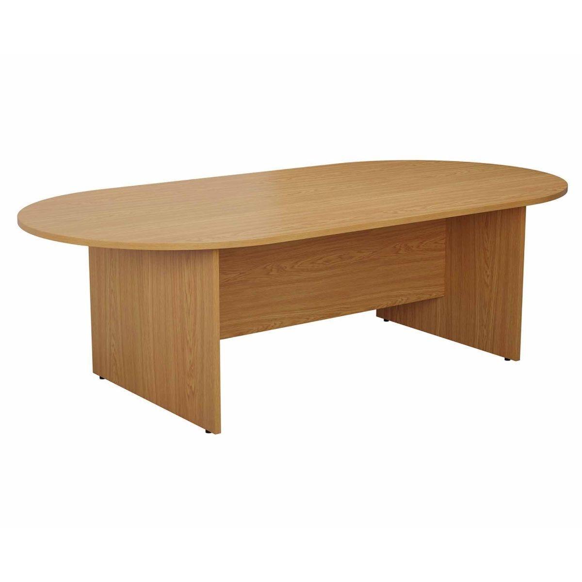 TC Office Long D-End Boardroom Table 2400mm Oak