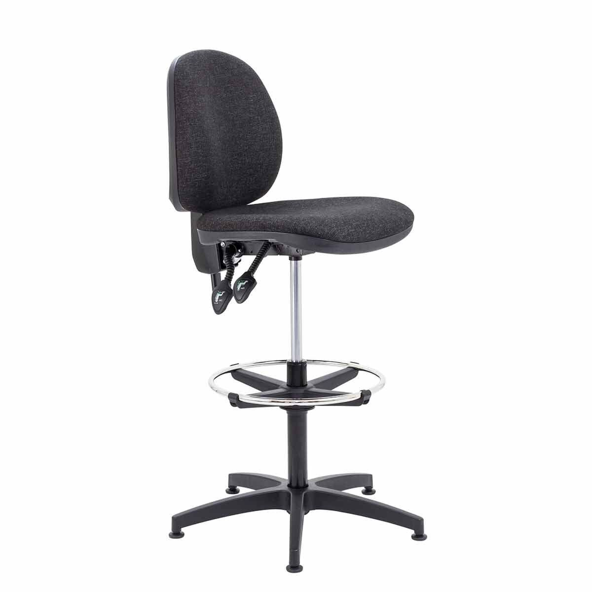 TC Office Concept Mid Back Chair with Adjustable Foot Ring Charcoal