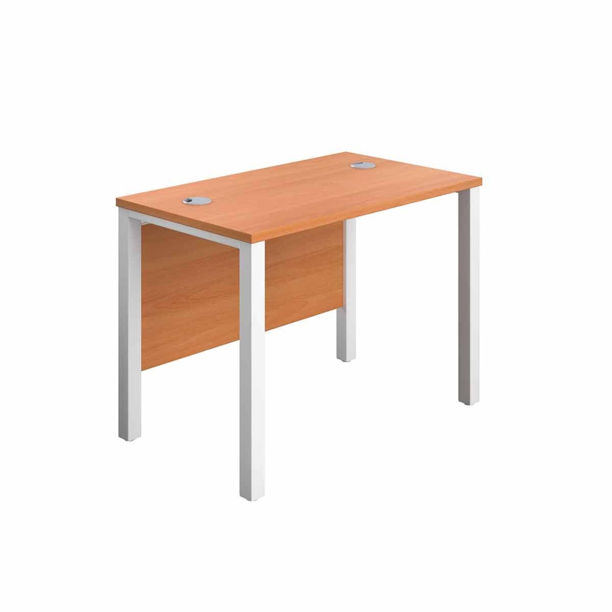 TC Office White Goal Post Rectangular Desk 100cm