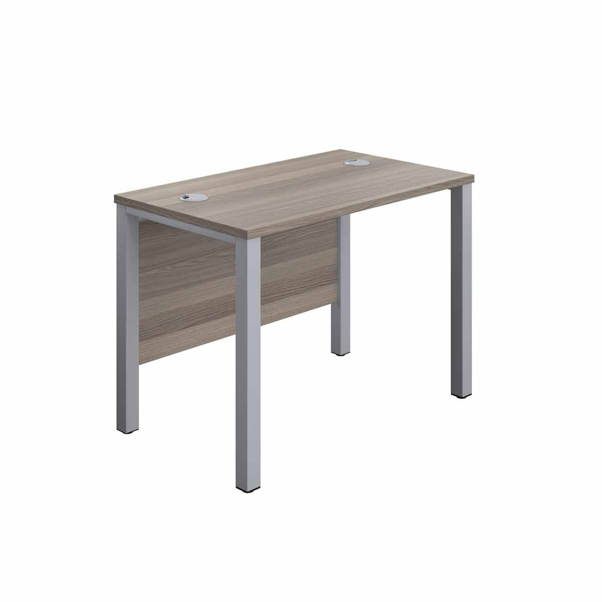 TC Office Silver Goal Post Rectangular Desk 100cm Grey Oak effect