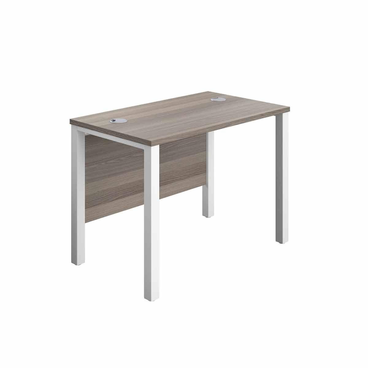 TC Office White Goal Post Rectangular Desk 100cm Grey Oak effect