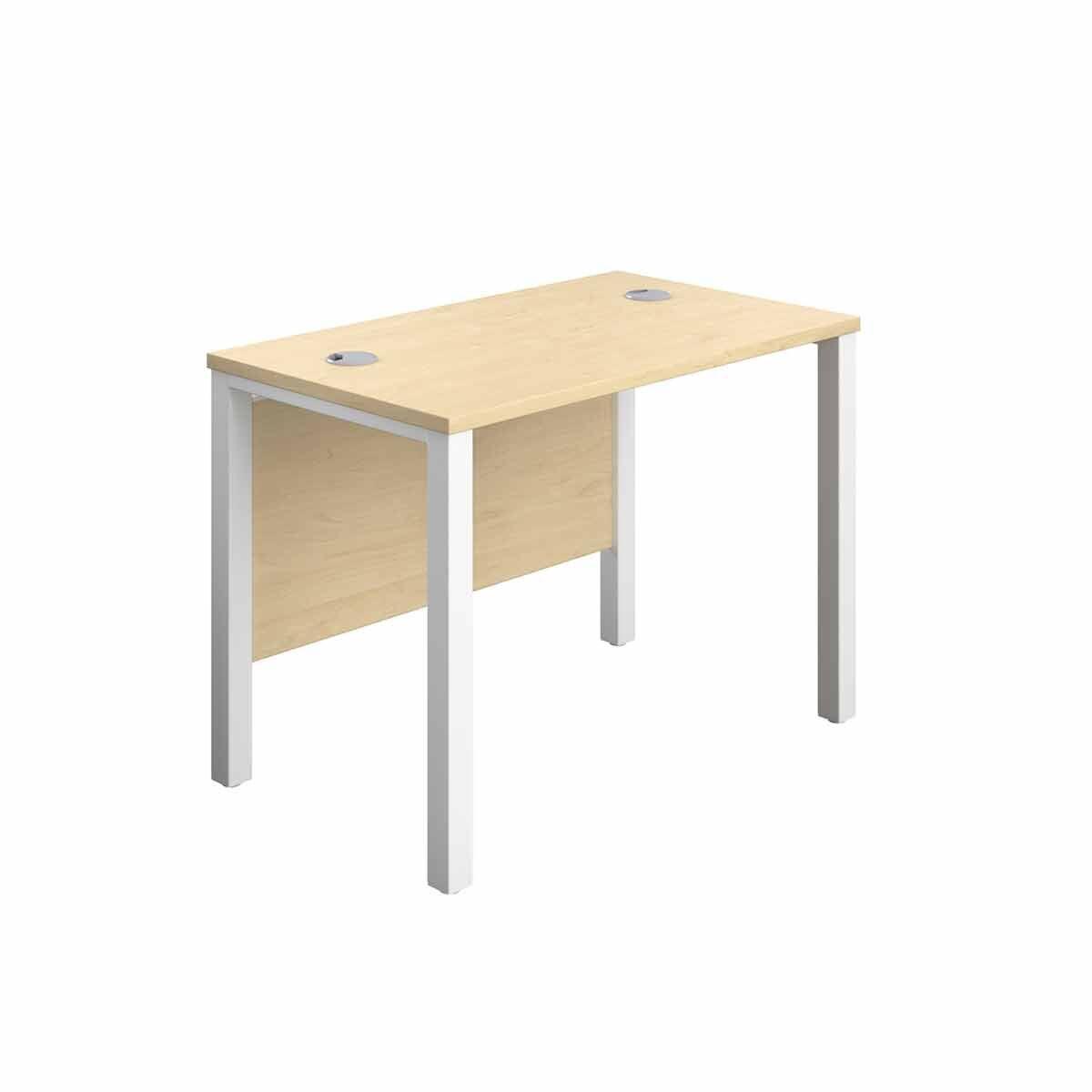 TC Office White Goal Post Rectangular Desk 100cm Maple