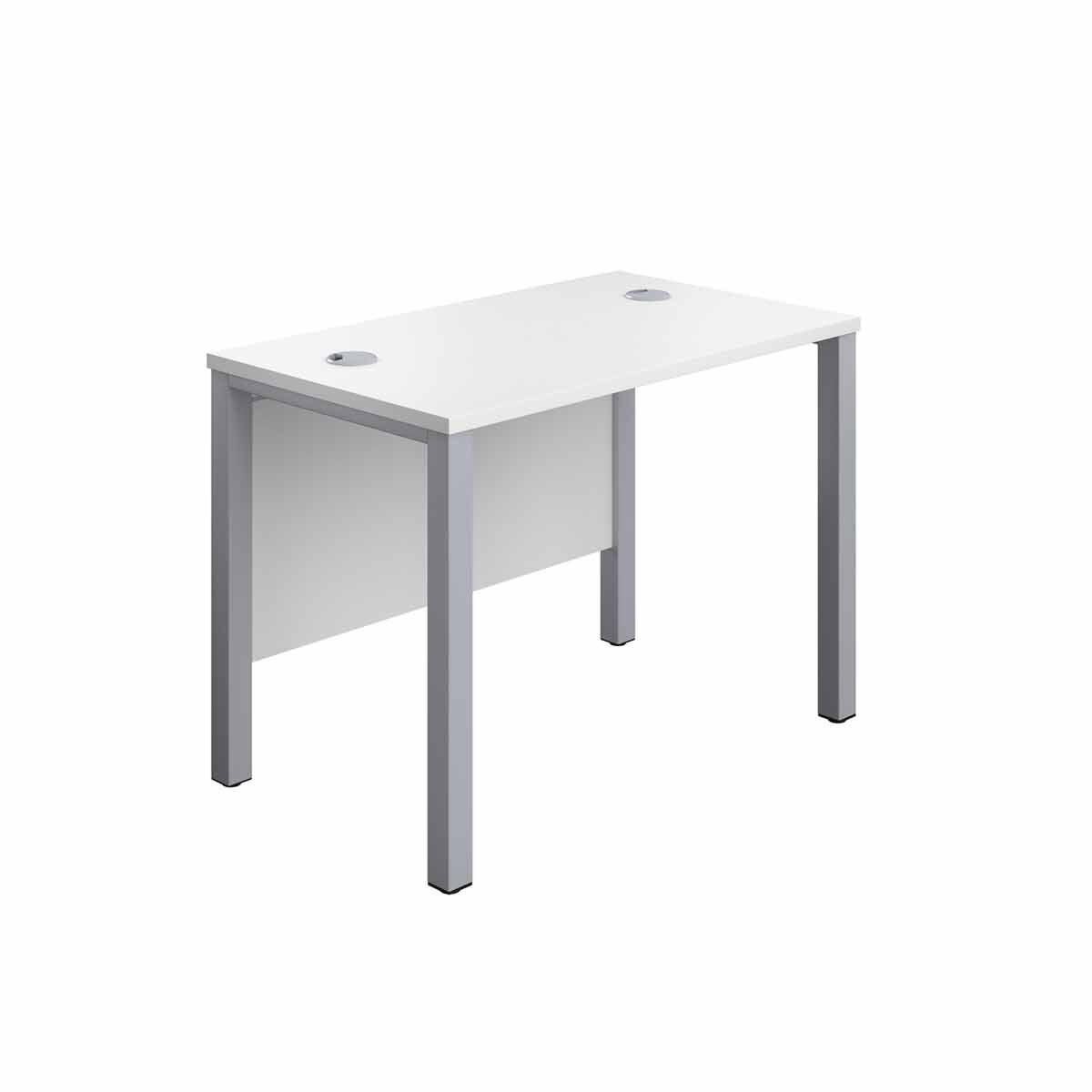 TC Office Silver Goal Post Rectangular Desk 100cm White