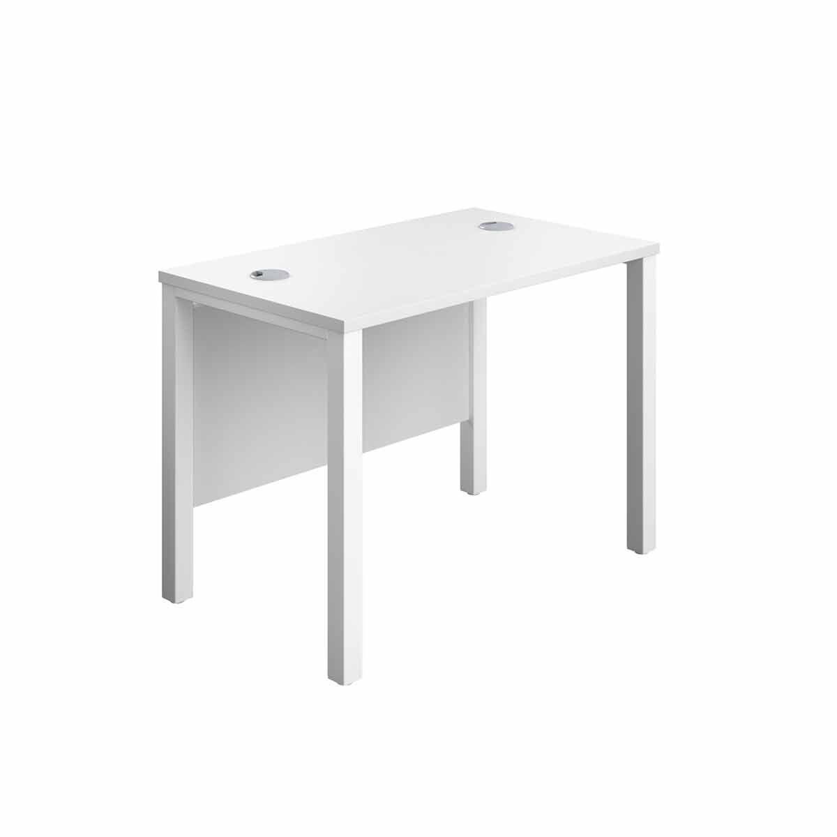 TC Office White Goal Post Rectangular Desk 100cm White