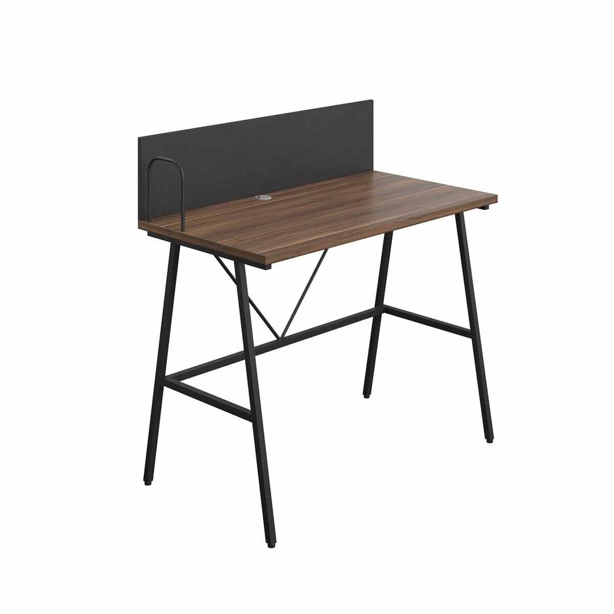 TC Office SOHO Home Working A-Frame Desk with Backboard Walnut