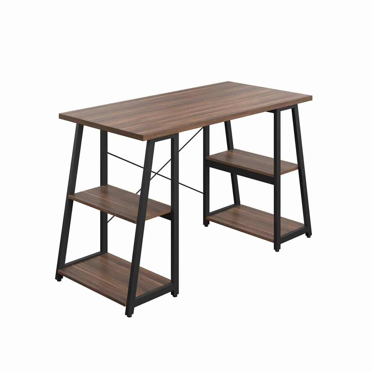 TC Office SOHO Home Working Desk with A-Frame Shelves Walnut