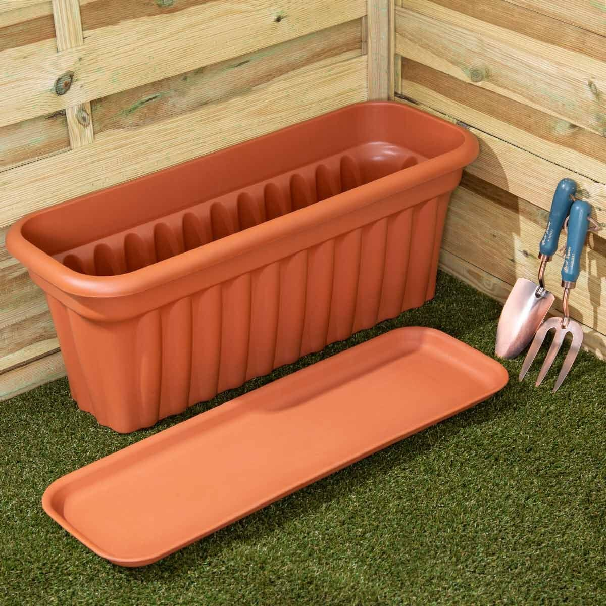 Wham Vista Traditional Trough with Tray 80cm Set of 3 Terracotta