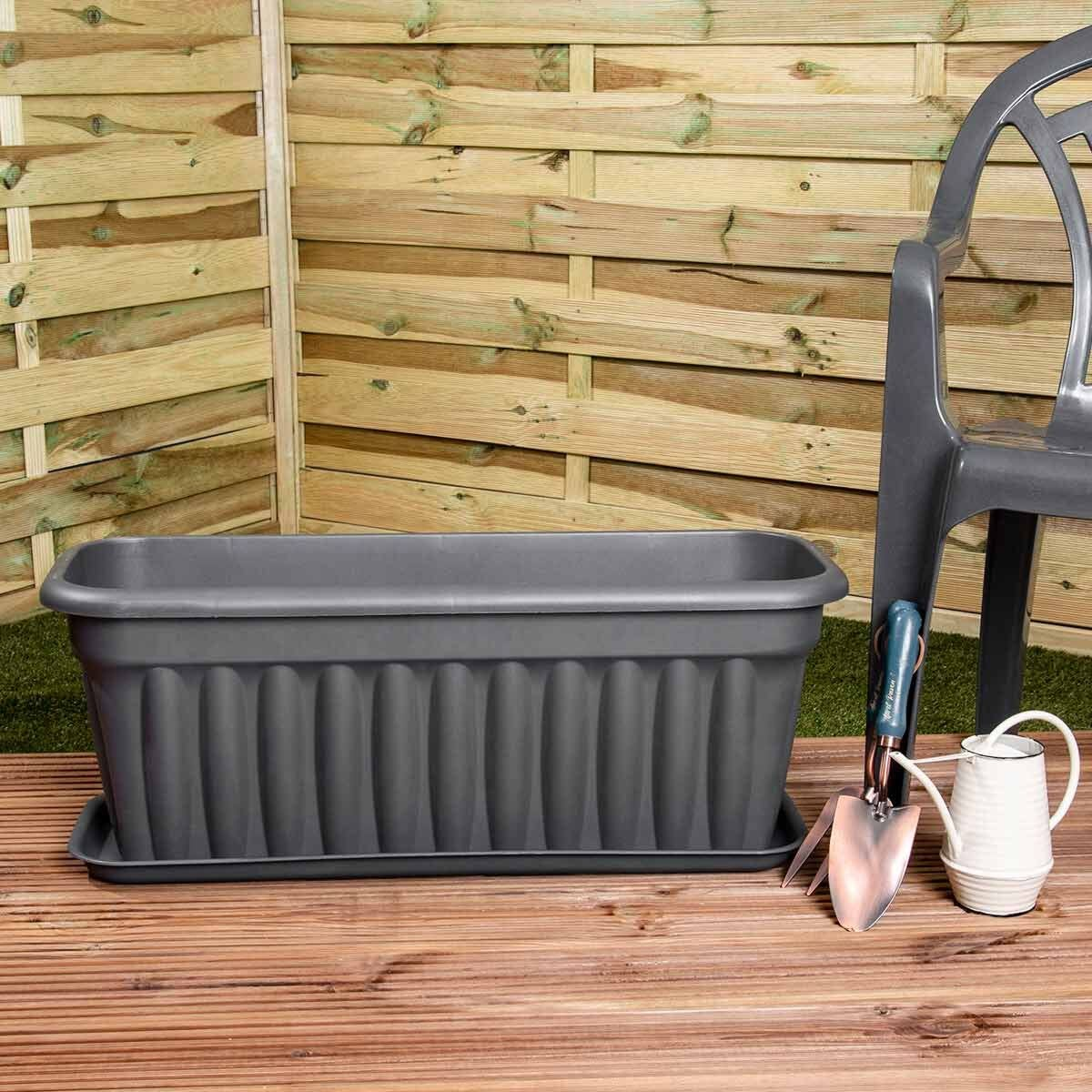 Wham Vista Traditional Trough with Tray 80cm Set of 5 Graphite
