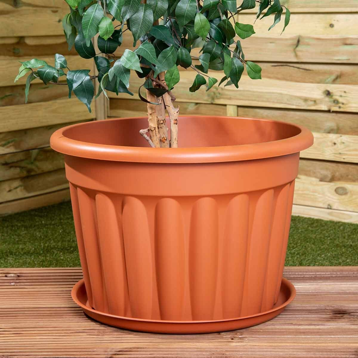 Wham Vista Traditional Round Planter with Tray 60cm Set of 5 Terracotta