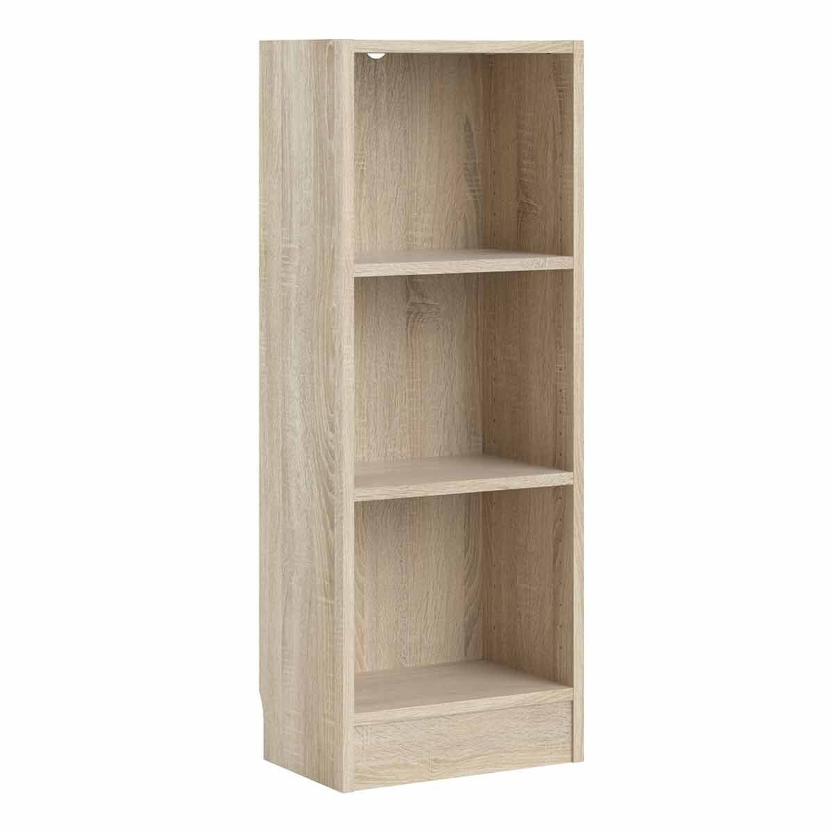 Basic Low Narrow Bookcase with 2 Shelves Oak