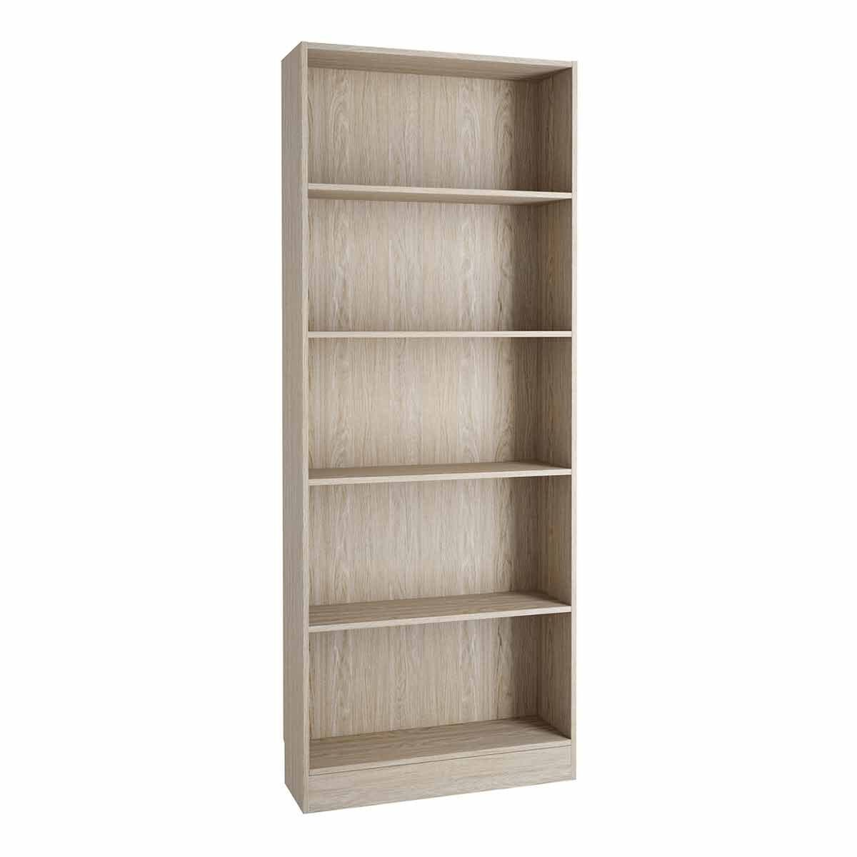 Basic Tall Wide Bookcase with 4 Shelves Oak