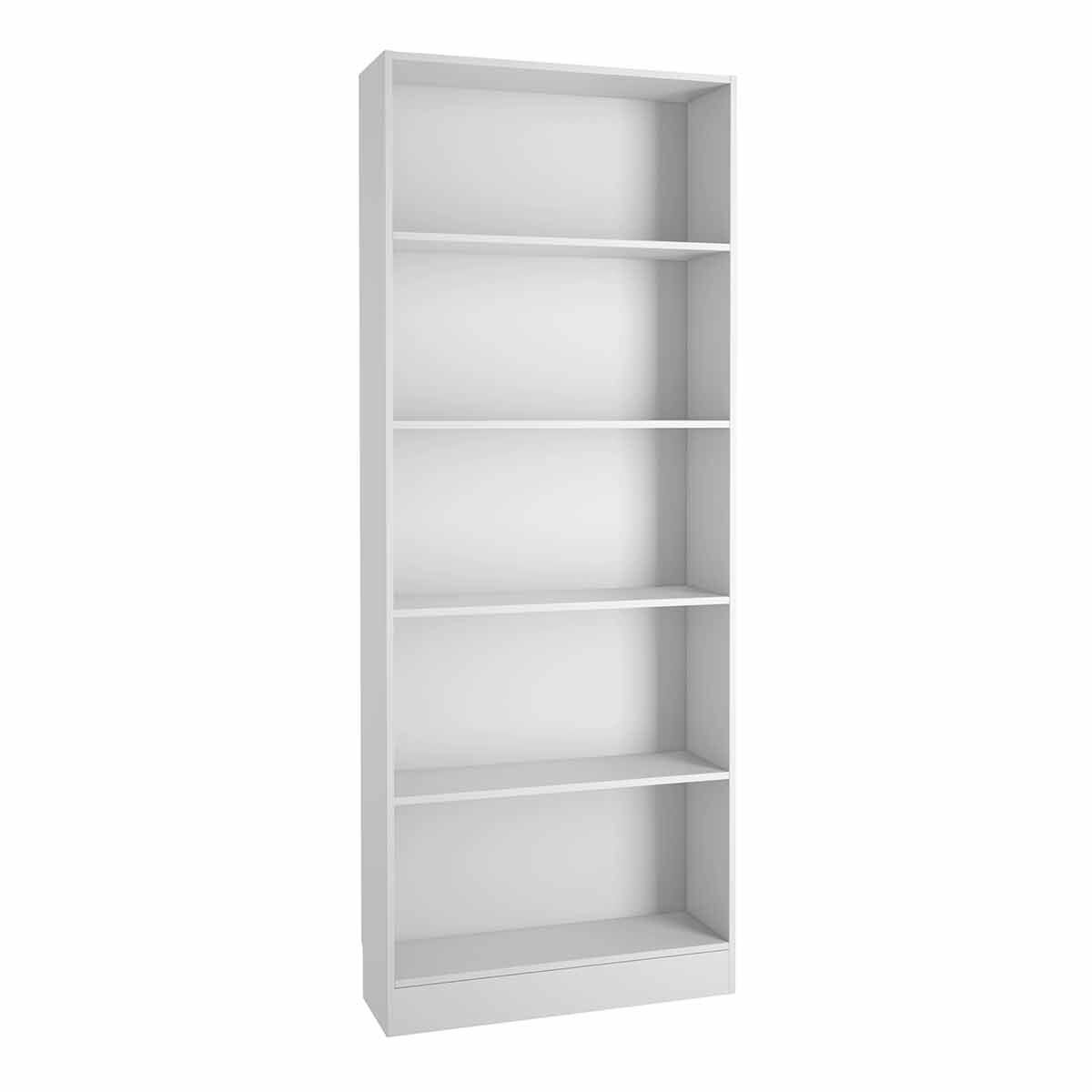 Basic Tall Wide Bookcase with 4 Shelves White