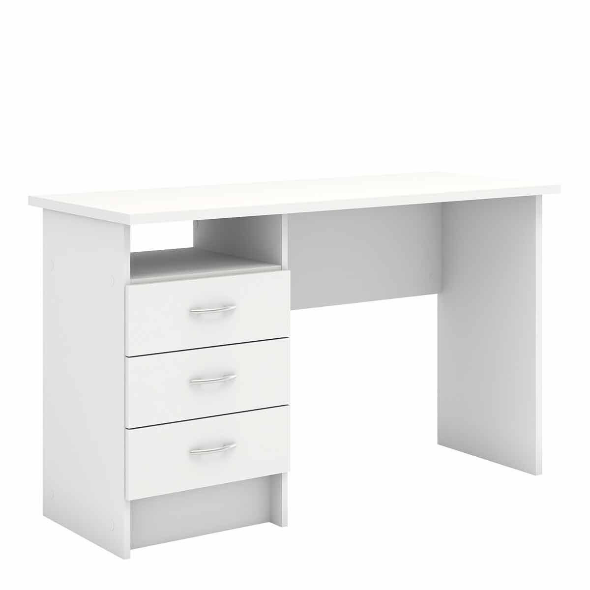 Function Plus Desk with 3 Drawers White