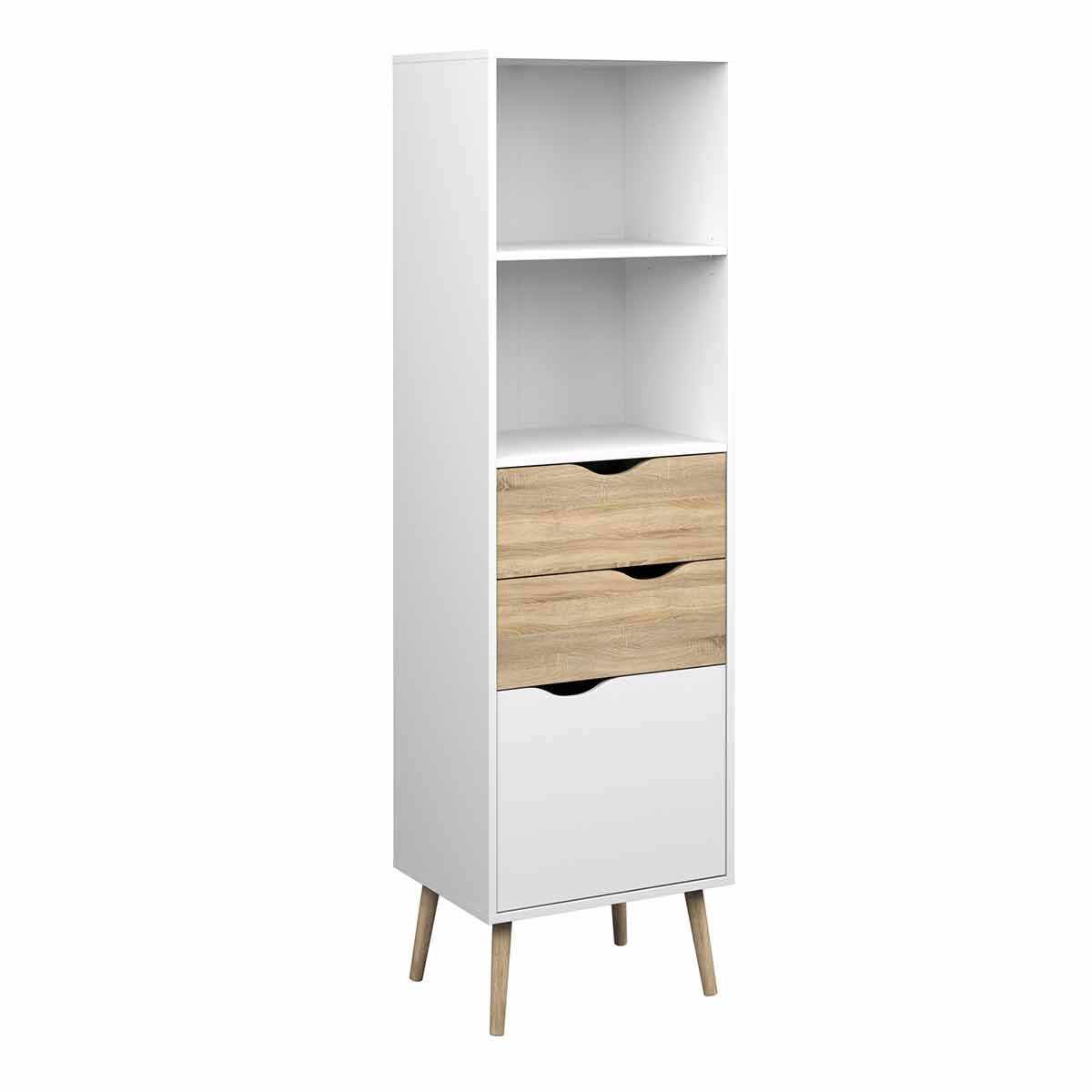 Oslo Bookcase with 2 Drawers 1 Door White Light Oak
