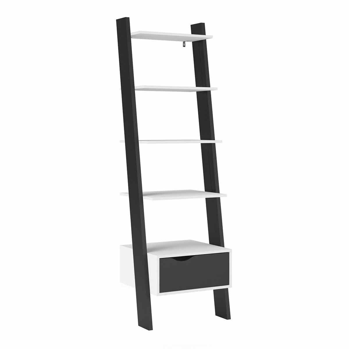 Oslo Leaning Bookcase with 1 Drawer White and black