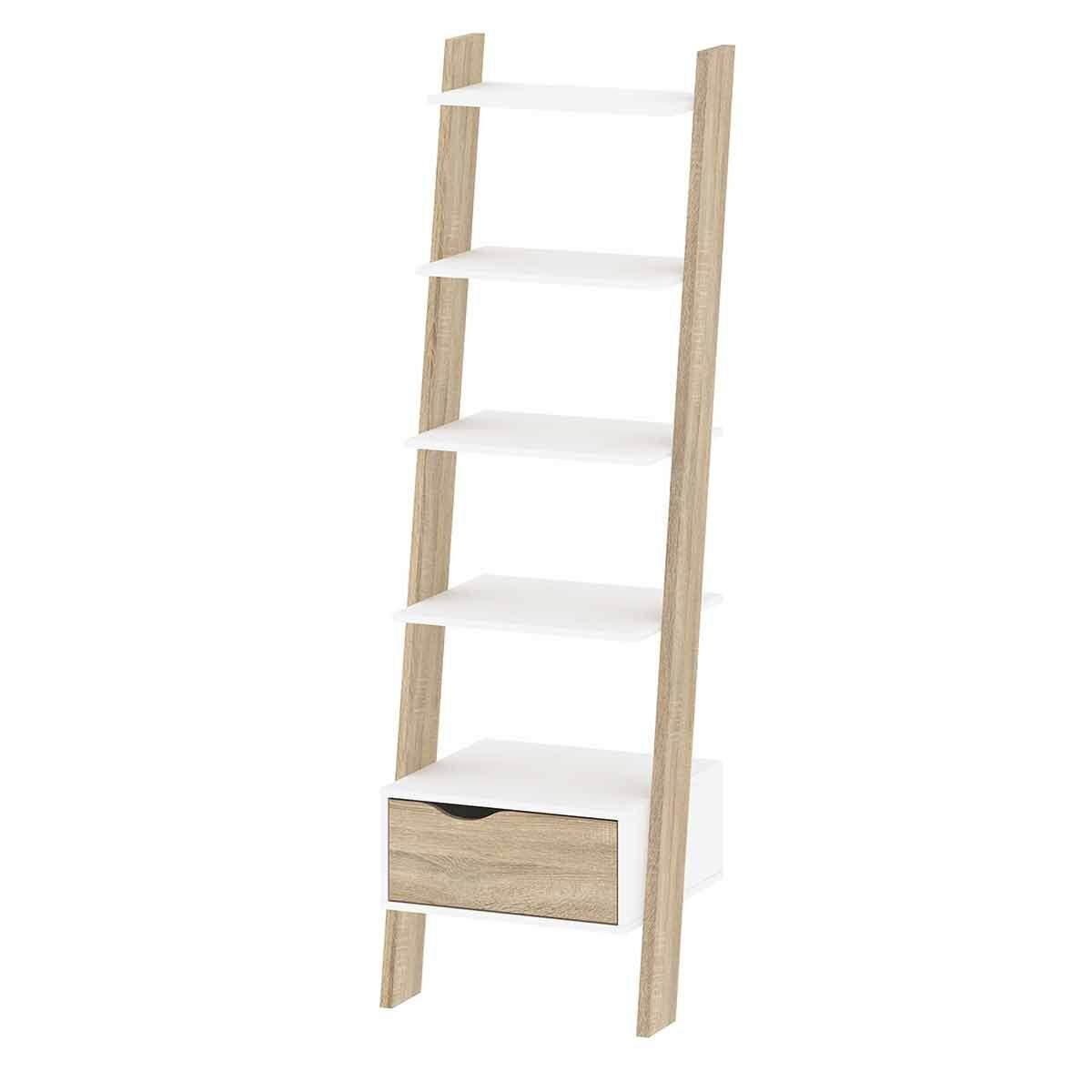 Oslo Leaning Bookcase with 1 Drawer