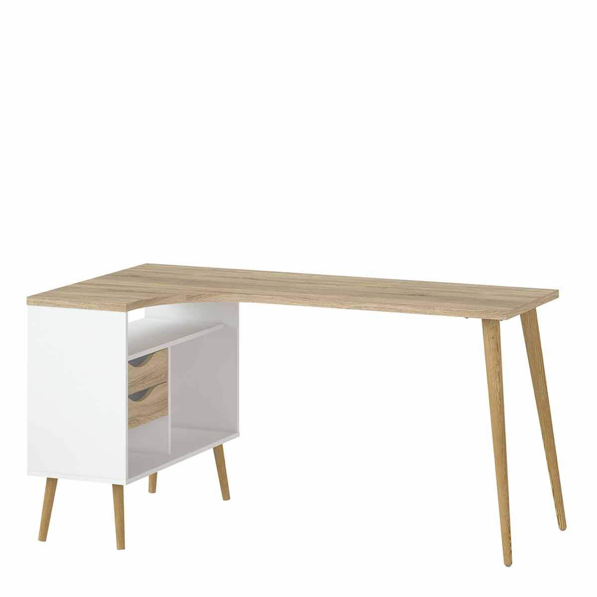 Oslo Desk with 2 Drawers White Light Oak