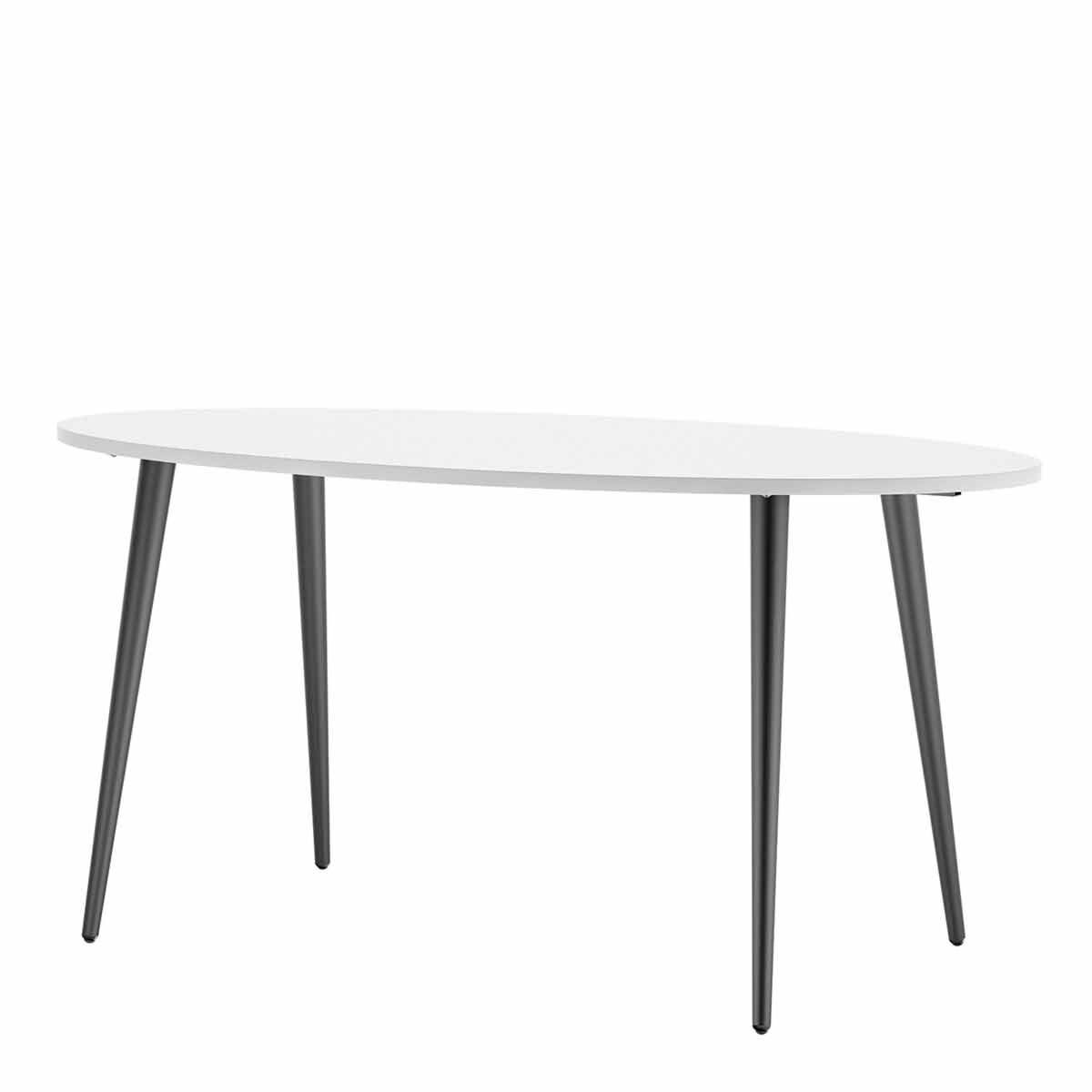 Oslo Oval Dining Table Black and White 160cm