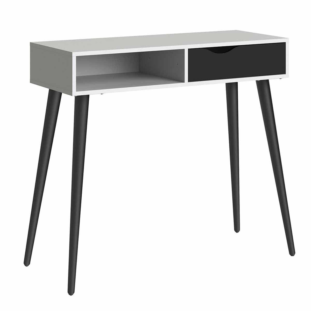 Oslo Console Table with Storage Black and White