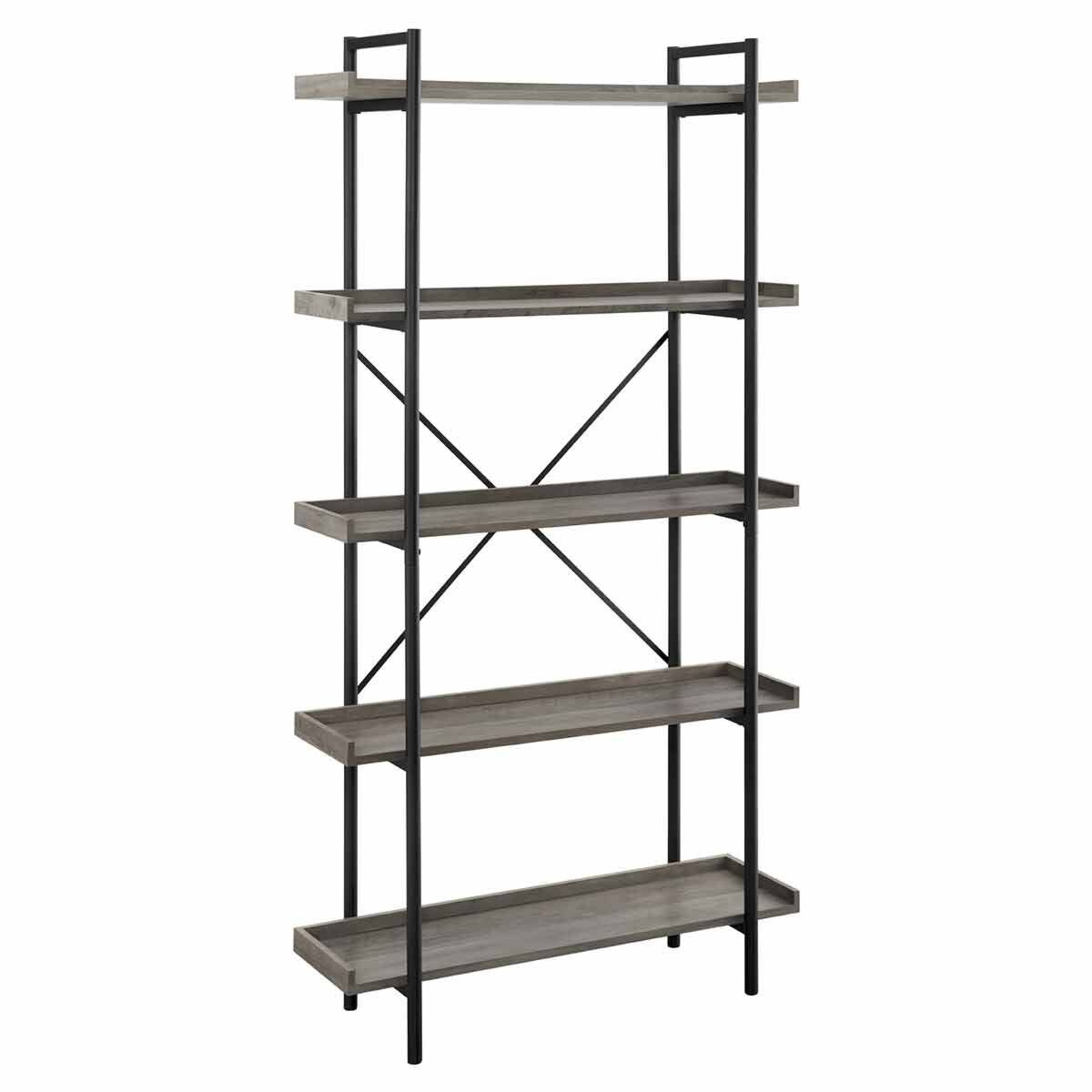 Sormonne Industrial Metal Bookcase 92cm Grey