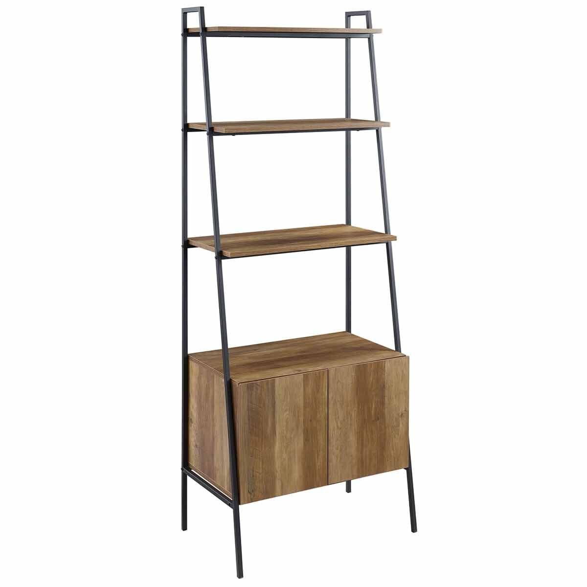 Vologne Industrial Ladder Bookcase with Cabinet