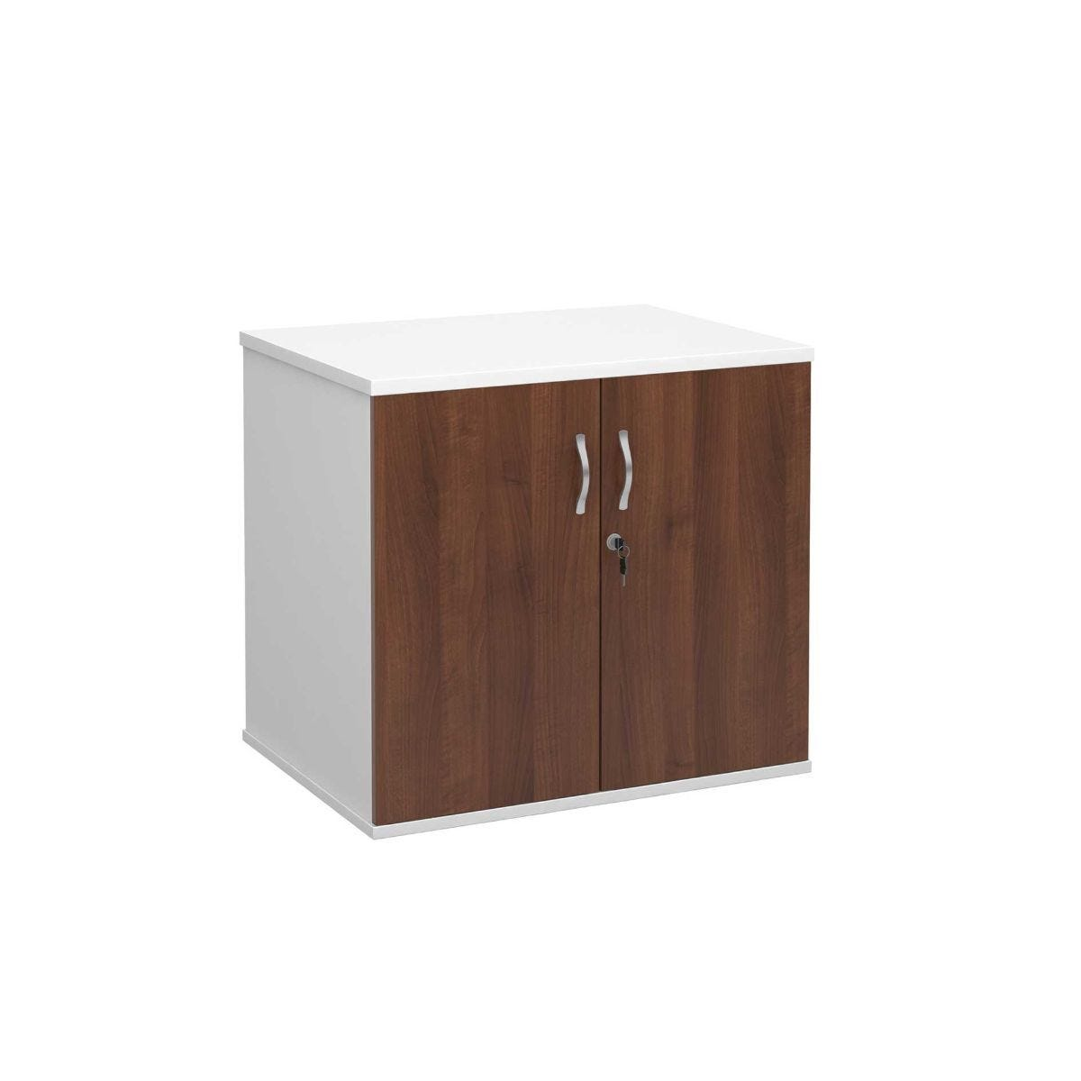 Desk High Cupboard with Doors Walnut and White