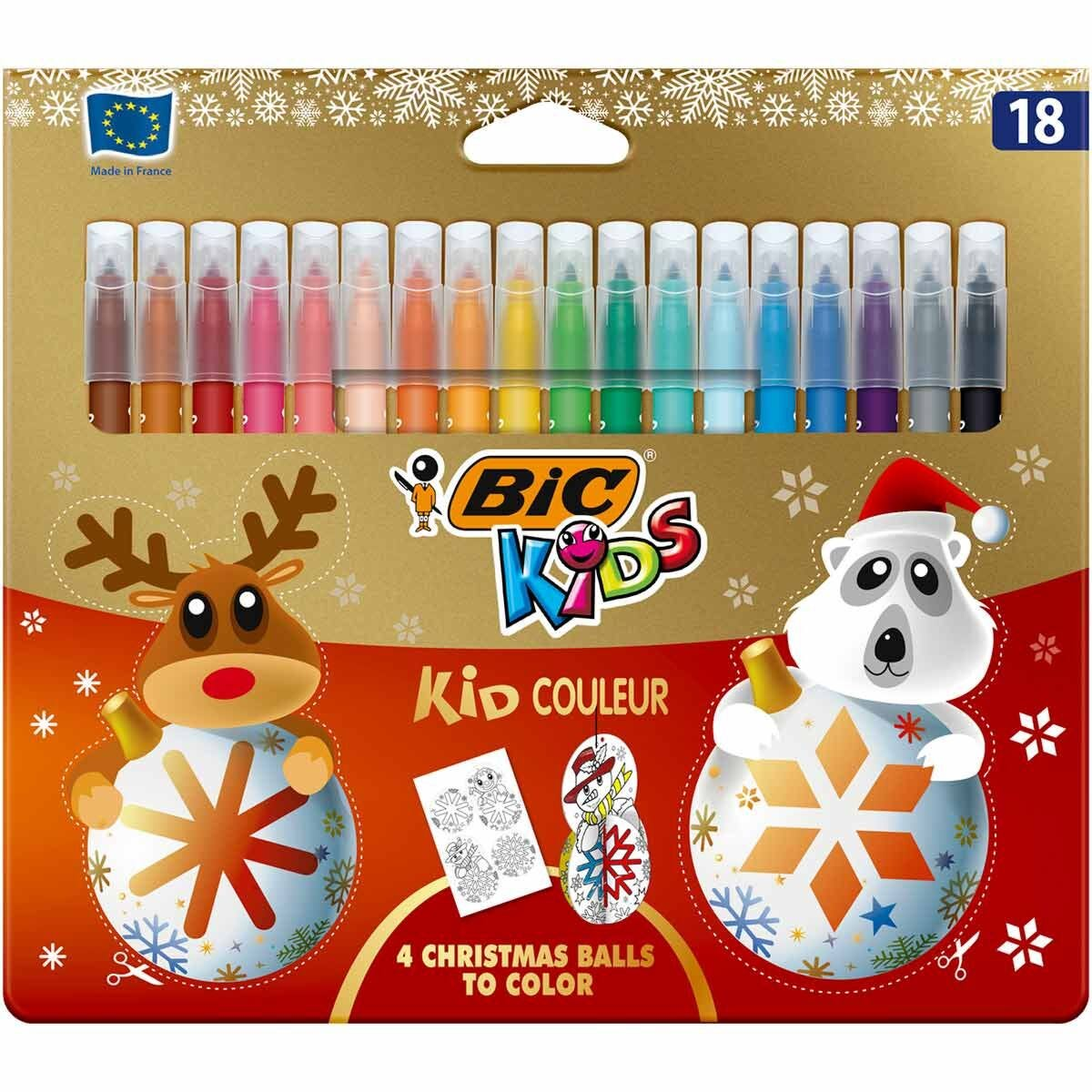 BiC Kids Couleur Colouring Felt Tip Pens Christmas Edition Pack of 18