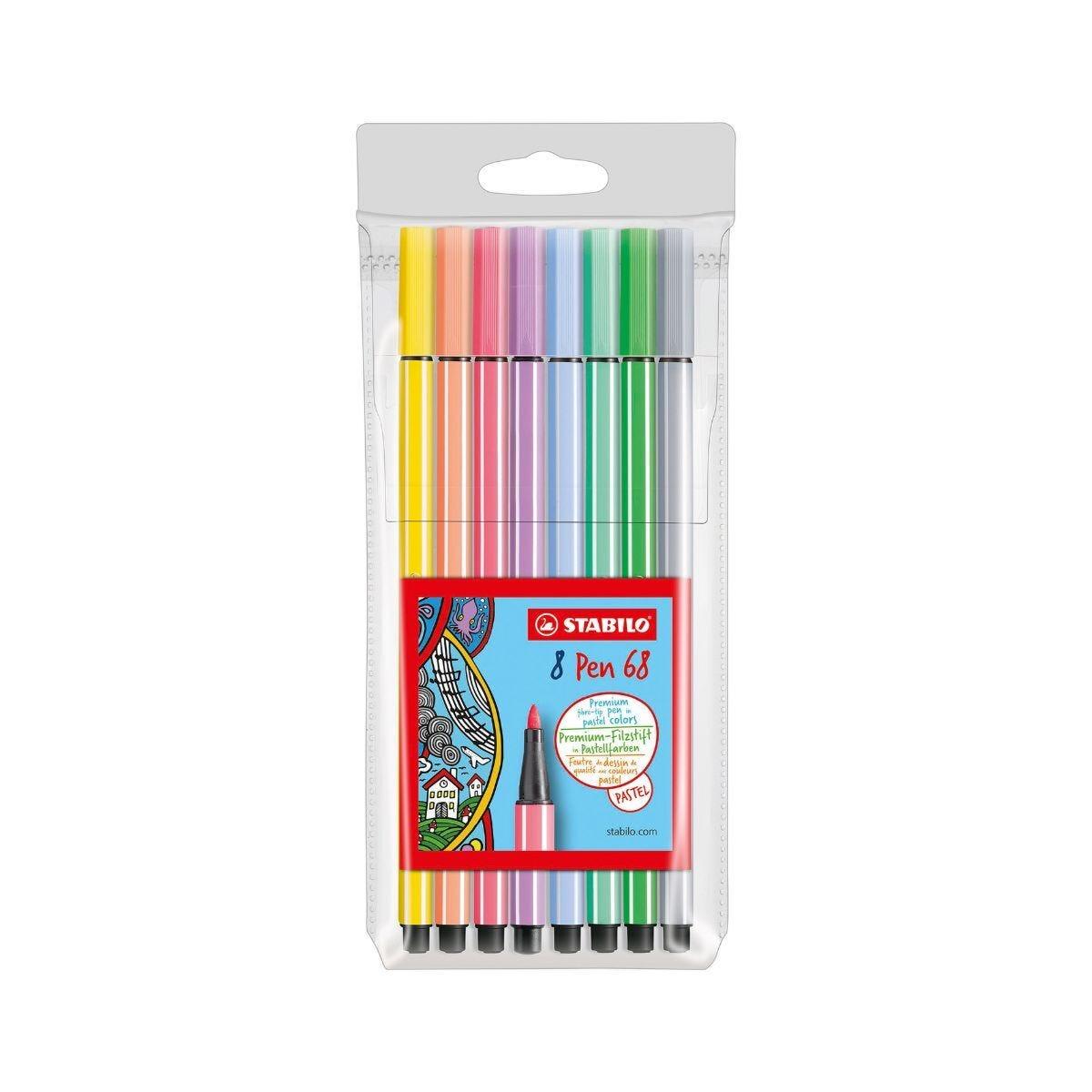 Stabilo Pen 68 Felt Tip Pens Pack Of 8 Pastels Assorted