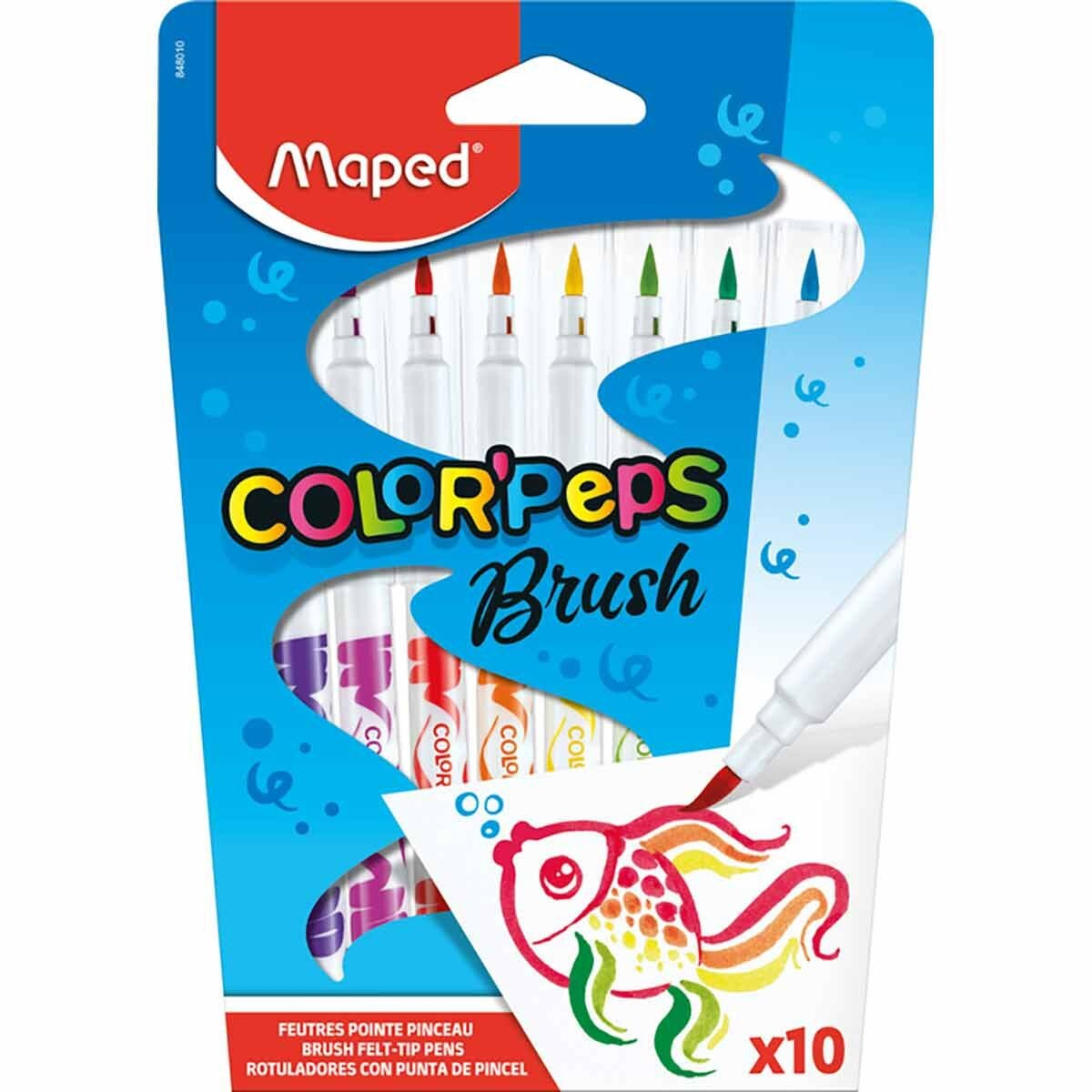 Maped Color Peps Brush Tip Felt Colouring Pens Pack of 10