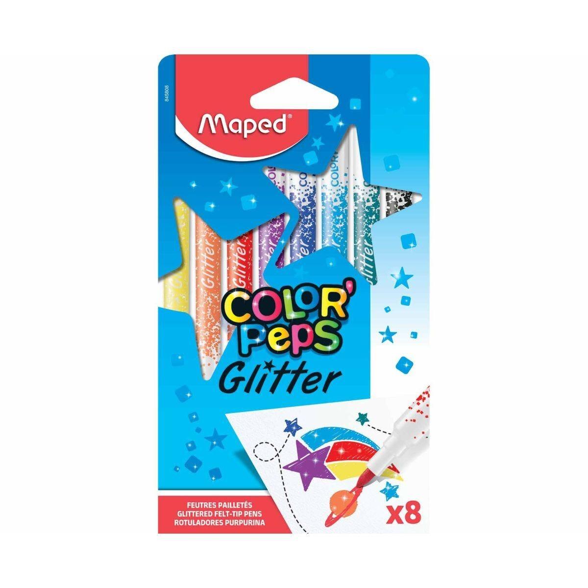 Maped Color Peps Glitter Felt Tip Colouring Pens Pack of 8