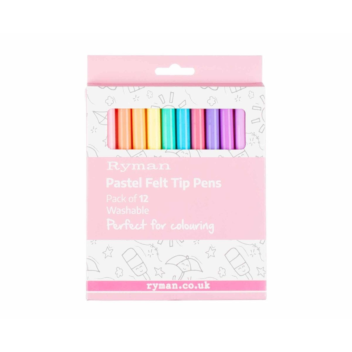 Ryman Pastel Felt Tip Pens Pack of 12