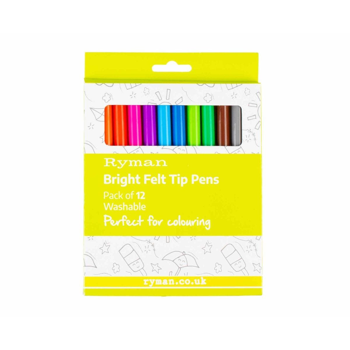 Ryman Bright Felt Tip Pens Pack of 12