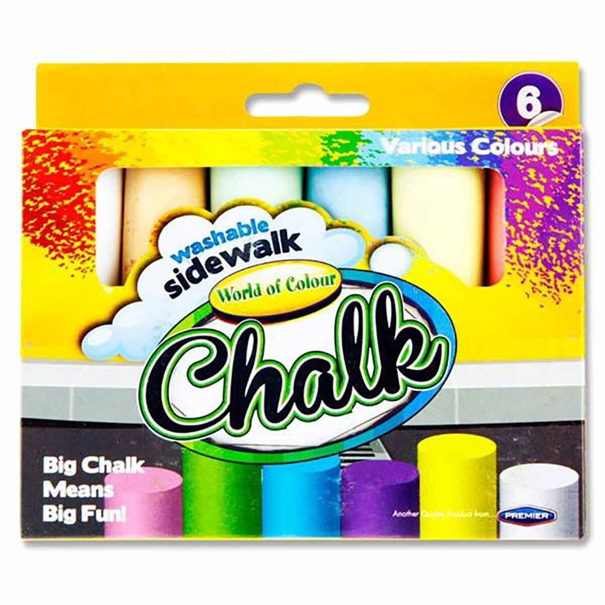 World of Colour Jumbo Sidewalk Chalks Pack of 6 Assorted