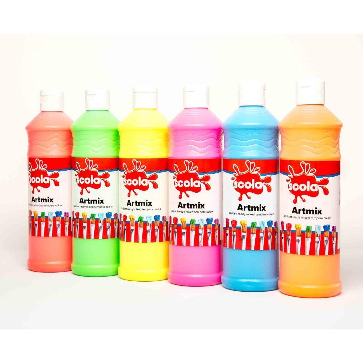 Artmix Ready Mix Paint 6 x 600ml Assorted Flourescent