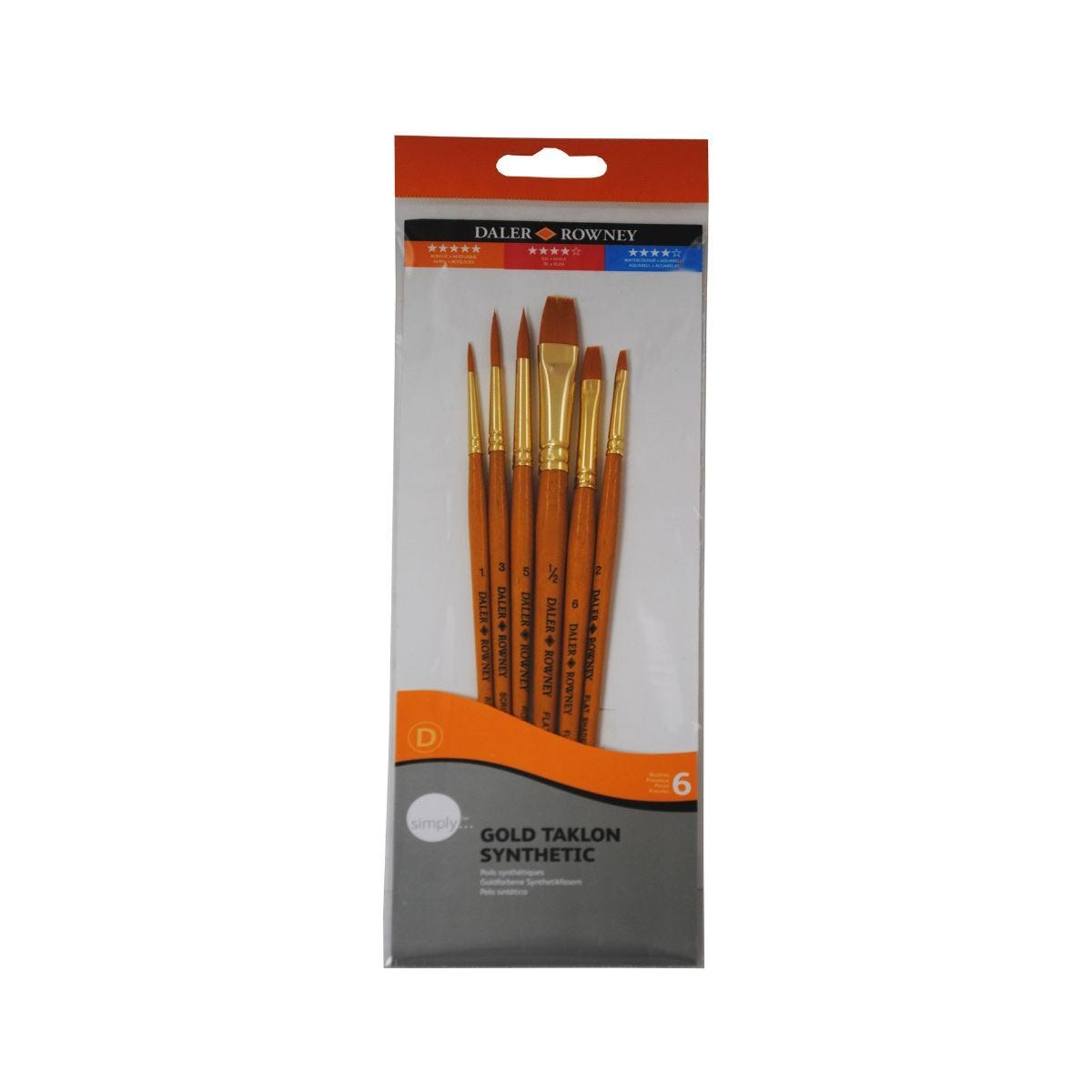 Daler Rowney Simply Gold Taklon Synthetic Brushes Pack of 6