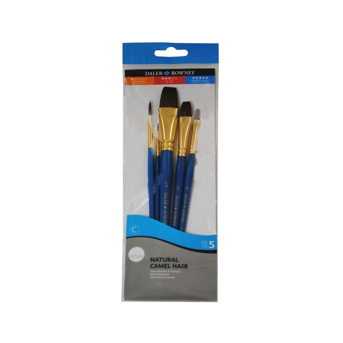 Daler Rowney Simply Camel Hair Synthetic Brushes Pack of 5