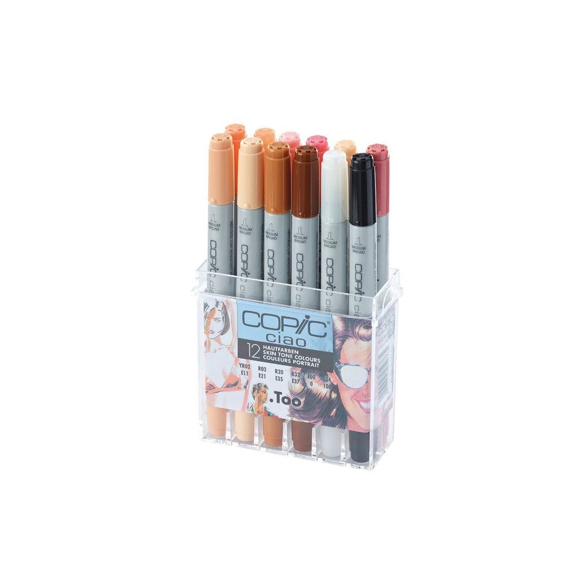 Copic Ciao Marker Pens Skin Tone Colours Pack of 12