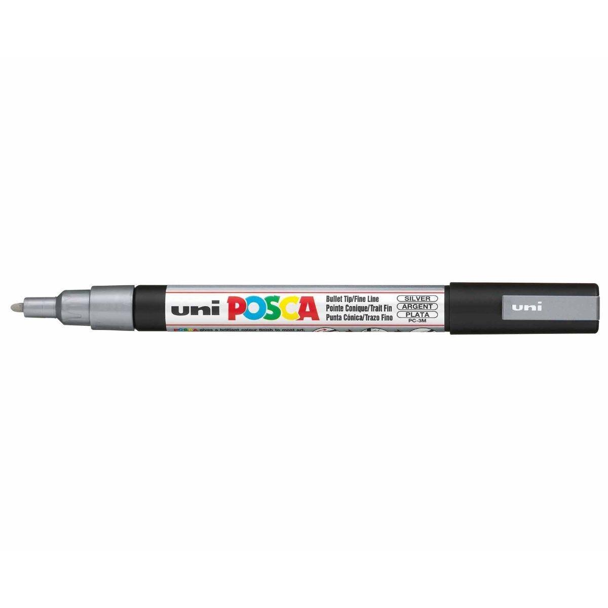 Uni Posca Marker Pen 0.9-1.3mm Bullet Tip PC-3M Silver