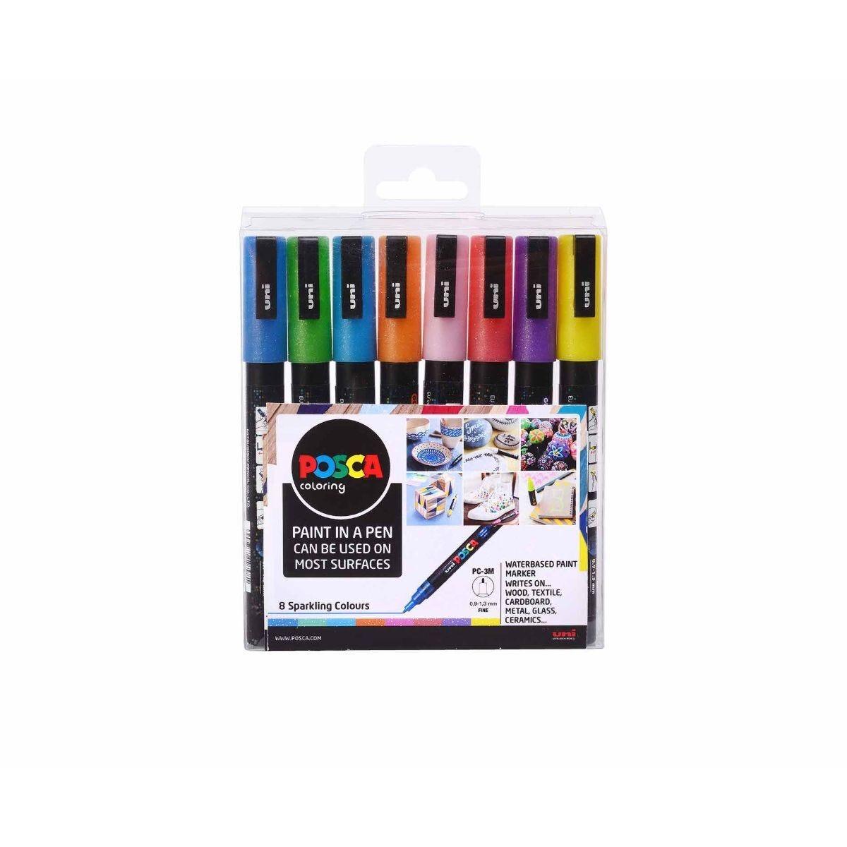Uni Posca Marker Pen 0.9 - 1.3mm Bullet Tip PC-3ML Sparkling Pack of 8 Assorted