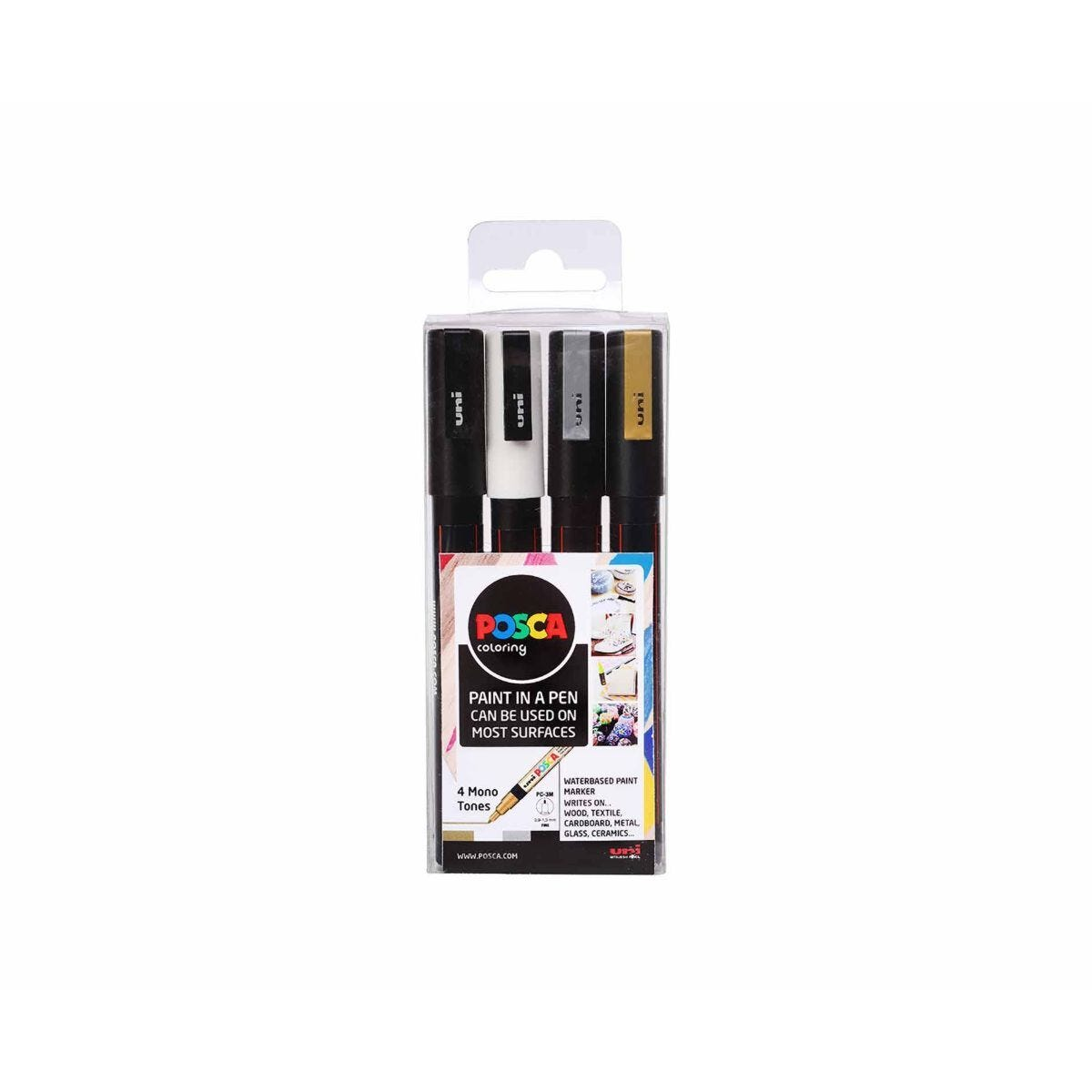 Uni Posca 0.9-1.3mm Bullet Tip PC-3M Mono Pack of 4 Assorted