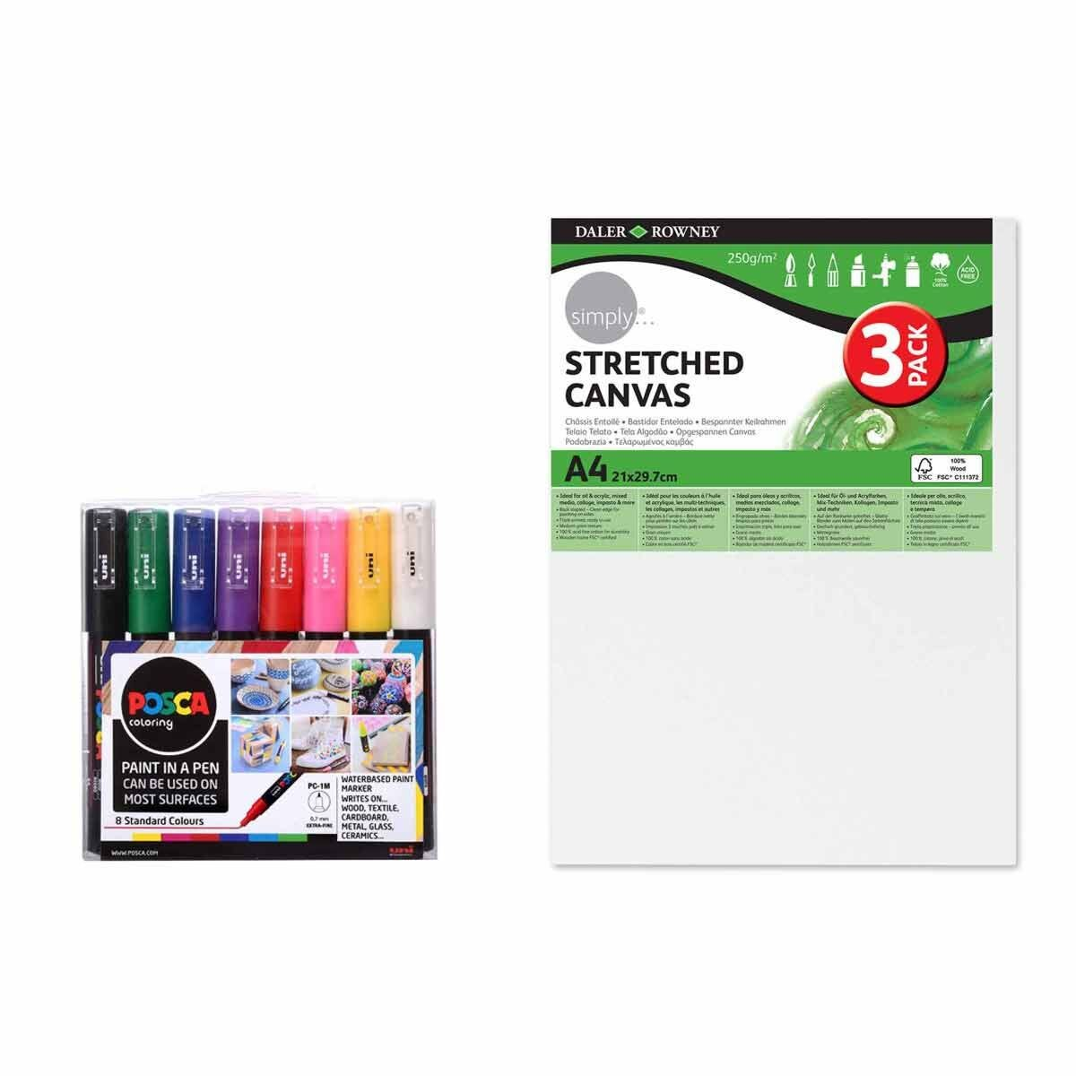 POSCA PC-1M 8 Piece Starter Pack with A4 Canvas Pack of 3