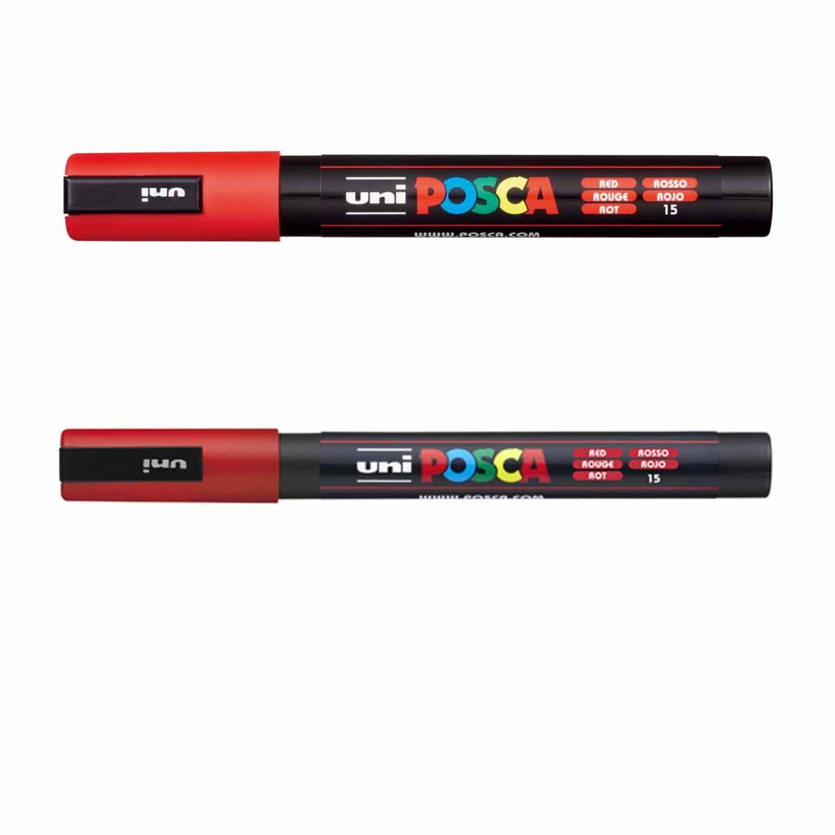 POSCA Red Pens PC-3M/PC-5M Pack of 2