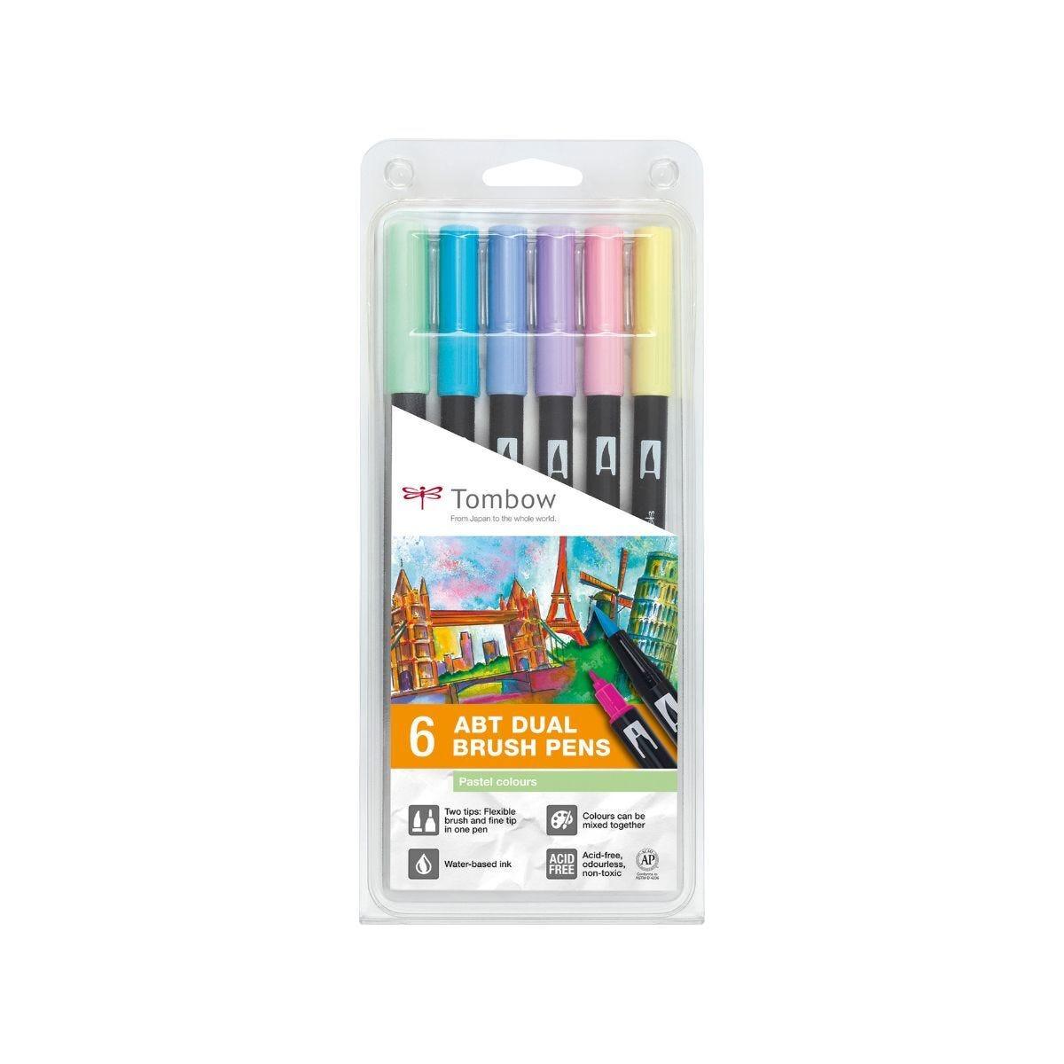 Tombow Art Dual Brush Pens Pastel Colours Pack of 6