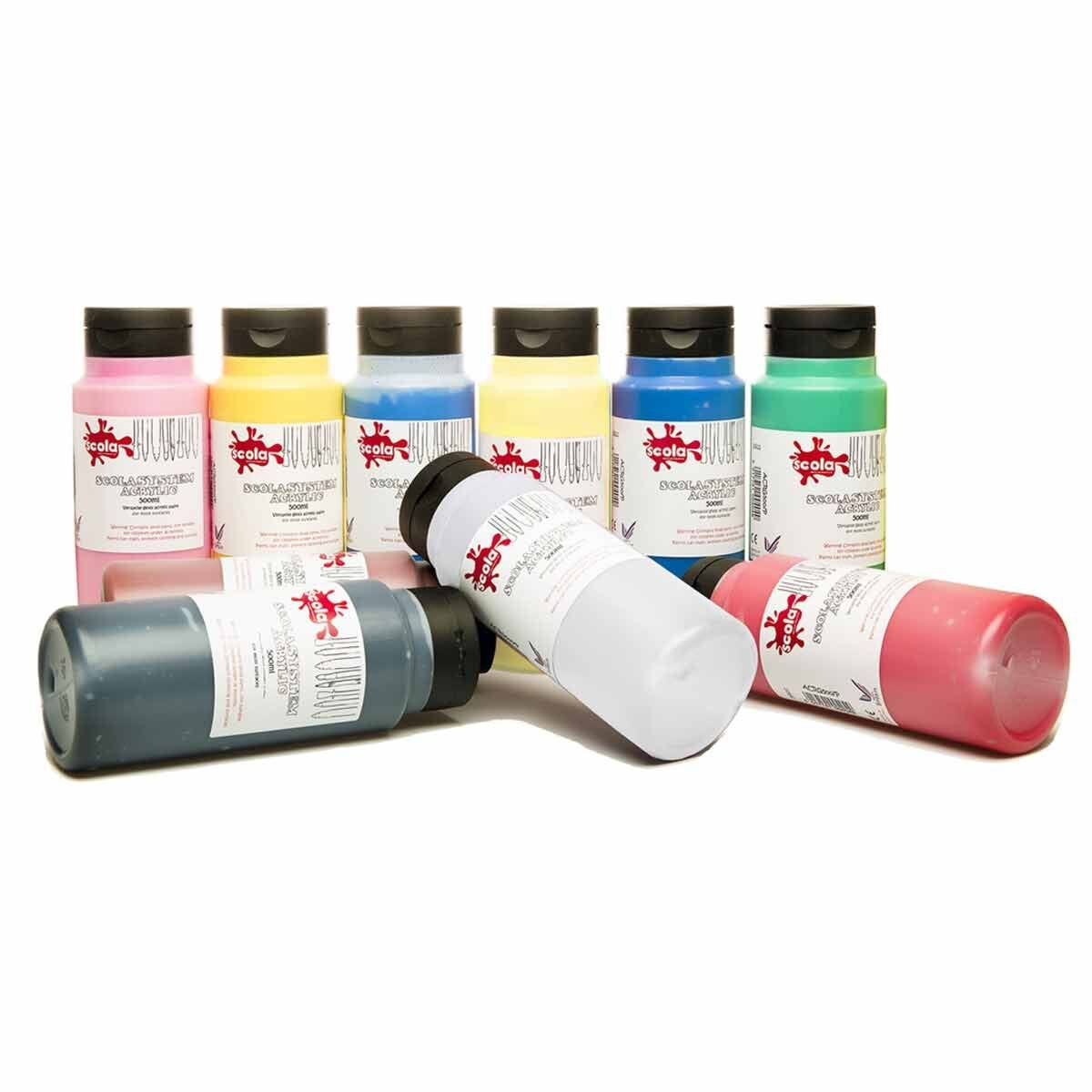 Scolaquip Acrylic Paint 500ml Pack of 10 Assorted