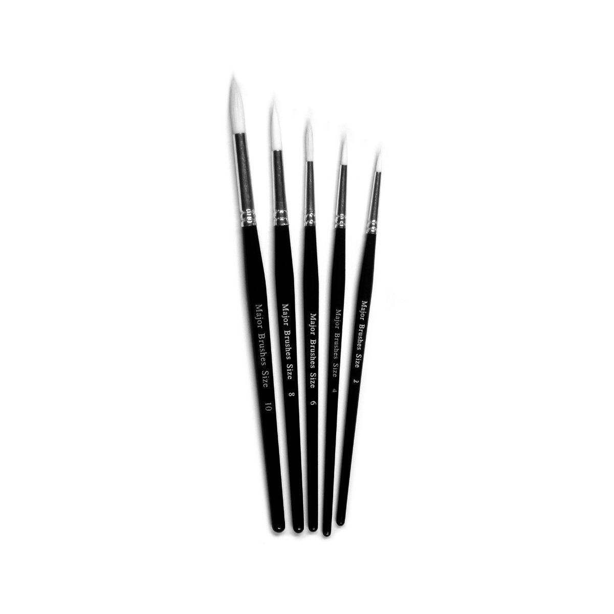 White Synthetic Sable Brush Size 2 Pack 10