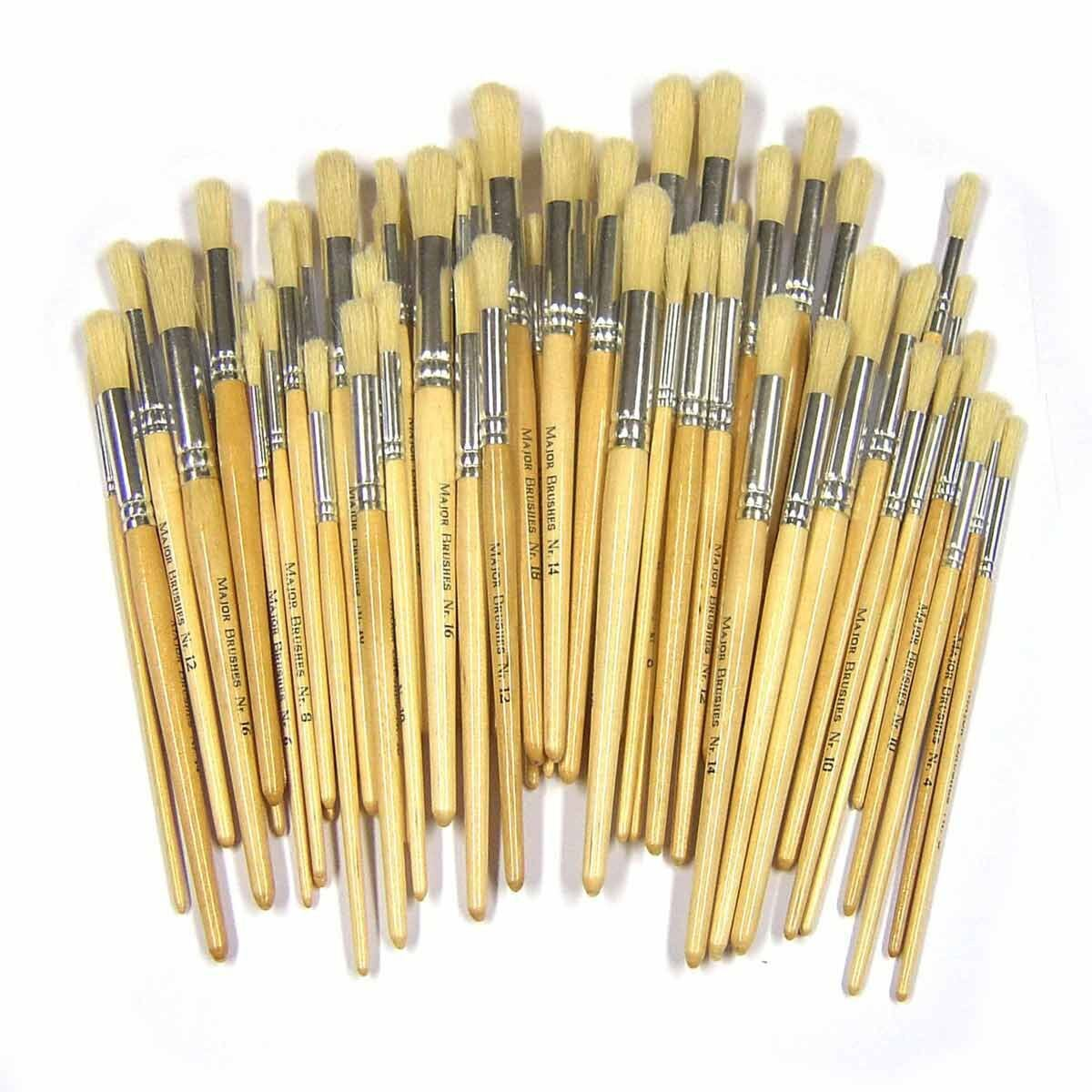 Short Round Bristle Brushes Pack of 100 Assorted Sizes