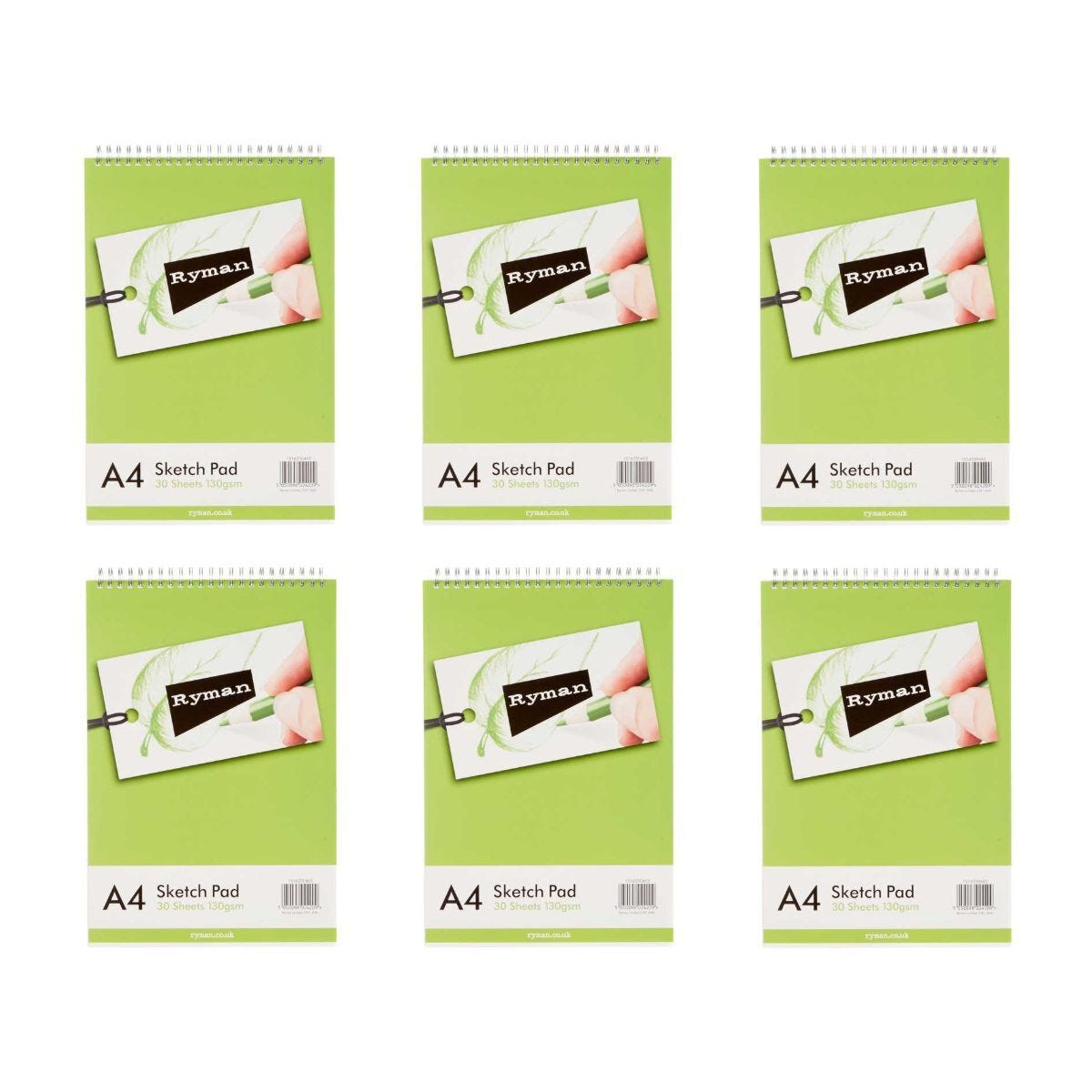 Ryman Sketch Pad A4 130gsm 60 Pages 30 Sheets Pack of 6