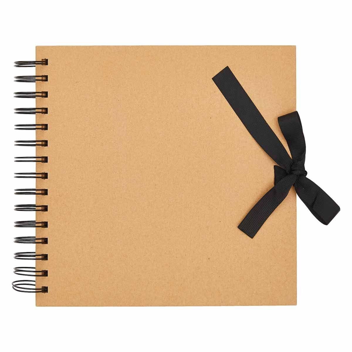 All Purpose Scrapbook with Ribbon Tie 8x8 Inch Kraft
