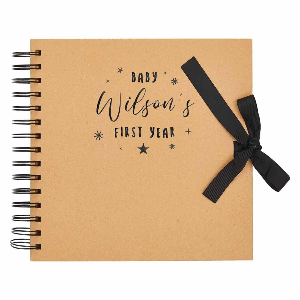 Personalised Scrapbook 8x8 First Year Black Foil Kraft